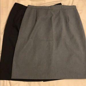 2 skirts, black and gray